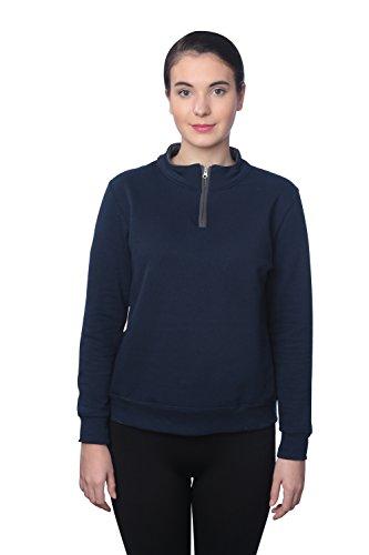 Fruit of the Loom Women's 1/4 Zip Fleece Sweatshirt, J Navy/Charcoal Grey, XL - Half Zip Stretch Pullover