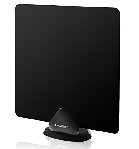 Liger Ultra-Thin Indoor HDTV Antenna 35 Mile Range with 10ft Coaxial Cable - Receive HD Television Signals for Free.