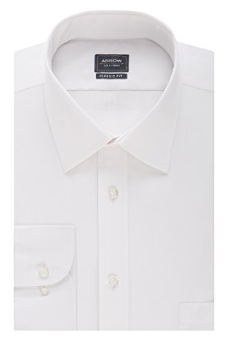 Arrow Men's Poplin Regular Fit Solid Spread Collar Dress Shirt, White, 16-16.5