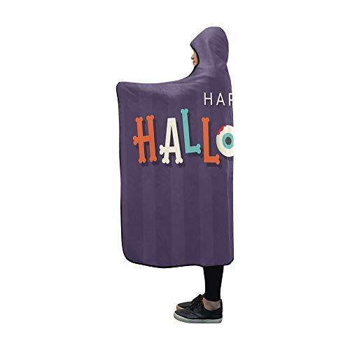 YUMOING Hooded Blanket Halloween Card Halloween Logo Title Bones Blanket 60x50 Inch Comfotable Hooded Throw Wrap -