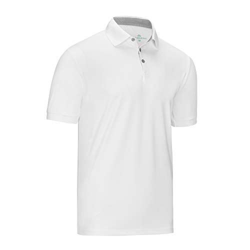 Mio Marino Golf Polo Shirts for Men - Regular-fit Quick-Dry Mens Athletic Shirts (White, Meduim)