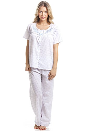 stampa Camille pigiama a pezzi donna due Azzurro pois maniche mezze Bianco classico azzurri con rpAT4n8rq