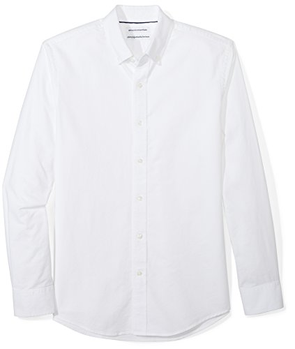 Amazon Essentials Men's Slim-Fit Long-Sleeve Solid Oxford Shirt, White, Medium (Men Fitted Dress Shirt White)