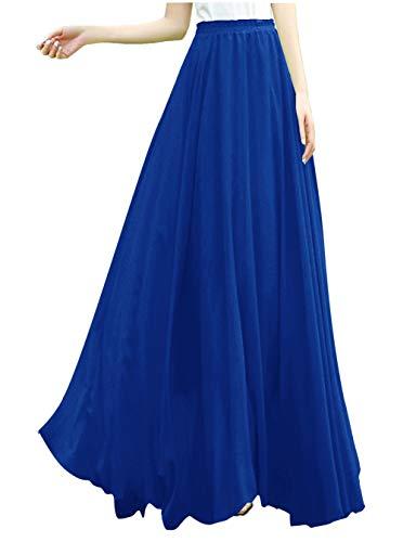 v28 Women Full/Ankle Length Elastic Retro Maxi Chiffon Long Skirt (M,Blue) -