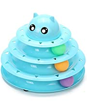 Gefry Pet Interactive Cat Toy 3 Level Towers Tracks Roller Exercise Puzzle Toys