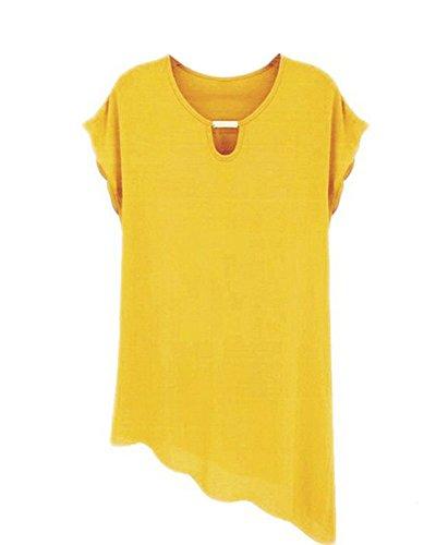 Las Mujeres Ocasionales De Manga Corta De La Gasa Dobladillo Irregular Camisas Blusa Shirts Amarillo