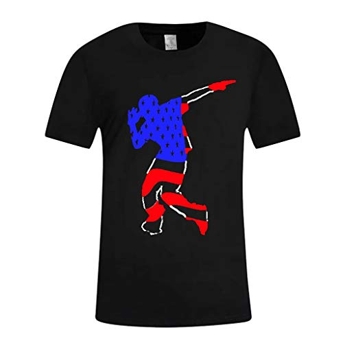 YOCheerful Men's Tops Summer Independence Day Shirts 3D Printing Short Sleeves Blouse Casual Top(Black, S) (To Beach Las Manhattan Vegas)