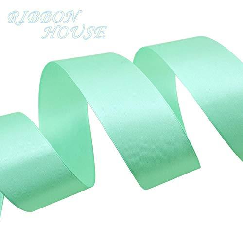 - (25 Yards/roll) 40mm Light Green Webbing Decoration Ribbon Single Face Satin Ribbon Gift Christmas Ribbons