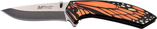 MTECH USA MT-A1005OR Spring Assist Folding Knife, Mirror Polished Blade, Orange & Black Butterfly Handle, 7.5″ Overall For Sale