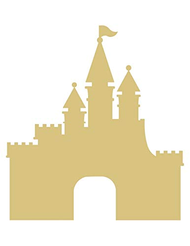 Castle Cutout Unfinished Wood Kids Cut Out Nursery Kids Craft Birthday Party Door Hanger MDF Shape Canvas Style -