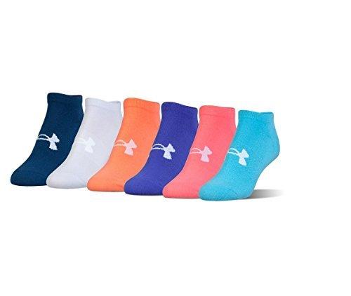 Under Armour Women`s Big Logo No-Show Training Socks (6 Pack) (Solid Violet (UL398) / Orange/Blue/Pink, Medium)