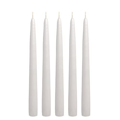 12 Dripless Elegant Taper Candles - WHITE - PREMIU big image