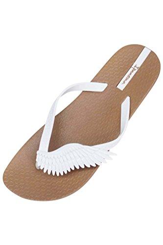 Luxury Divas Tan & White Ipanema Neo Sky Wing Strap Brazilian Flip Flops Size 5