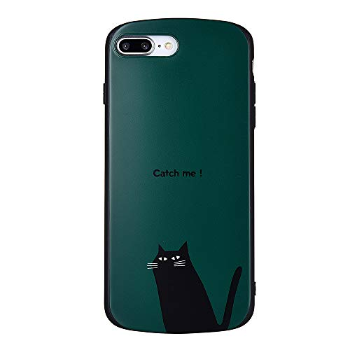 KEXAAR Unique Case for iPhone 8 Plus, iPhone 7 Plus case Retro Cute Cat Animal cartoon pattern for girls, Square Rounded Edge Design[Anti-Scratch] [Extra Shock Absorption]Thin Soft case(Black Cat 8+) ()