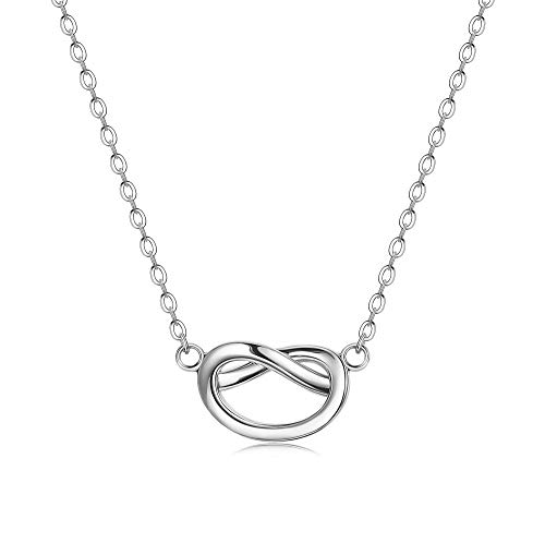 Infinity Knot Necklace - Sllaiss 925 Sterling Silver Forever Love Knot Necklace Clavicle Necklace for Women Girls Teen Infinity Pendant Bridesmaid Jewelry Gift(Silver)