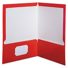 (Oxford High Gloss Laminated Paperboard Folder, 100-Sheet Capacity, Red, 25/Box)