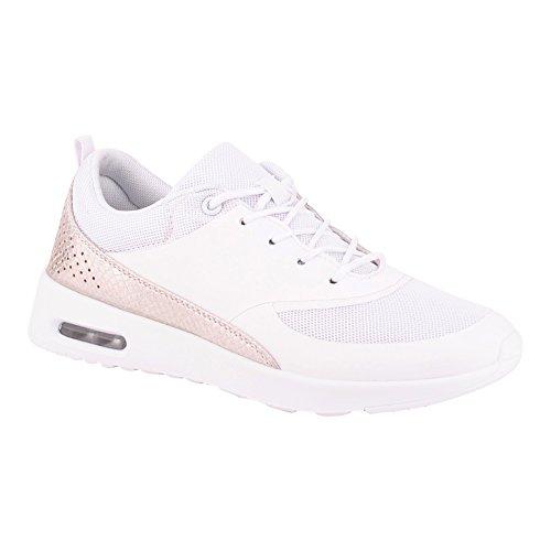 Herren Damen Sneaker Sportschuhe Lauf Freizeit Fitness Low Unisex Schuhe Weiss/Damen EU 38