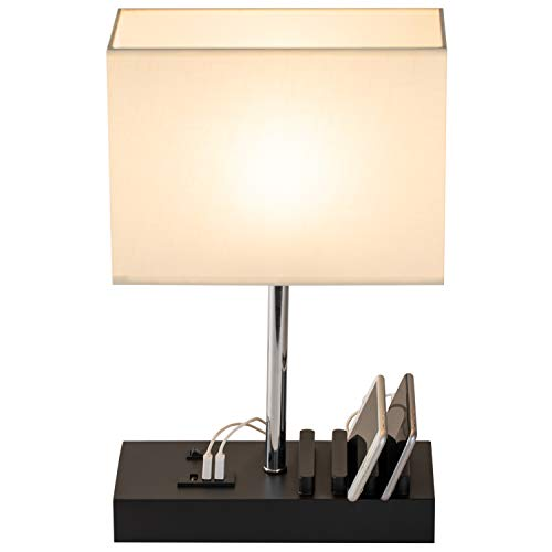 USB Table Lamp, Briever Multi-Functional Desk Lamp with 3 USB Charging Ports and Phone Charge Dock, Black Wood Charging Station and Organizer, Perfect Light for Bedroom,Guest Room,Living Room,Office