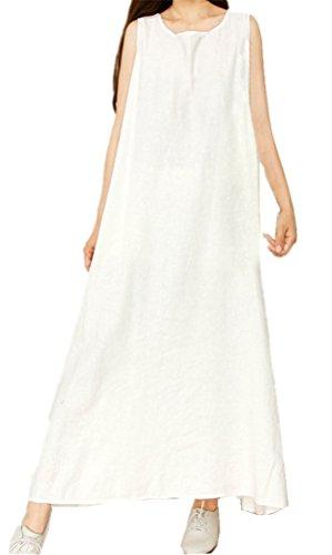 FENIKUSU Women's Summer New Loose Casual Plus Size Cotton Basic Long Dress -