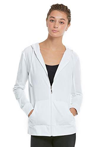 Women's Zip Up Cotton Light Hoodie Jacket (M,White) (Best Hoodies For Summer)