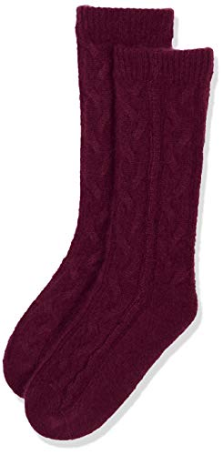 Cashmere & Spun Cashmere Combined womens' cable knit socks