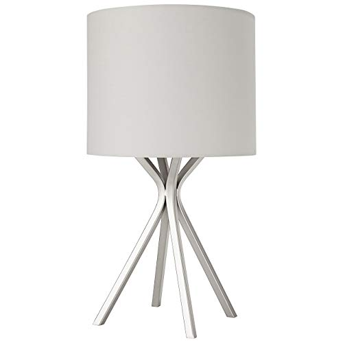 Amazon Brand – Rivet Silver Bedside Table Desk Lamp with Light Bulb - 18-Inches, Linen Shade