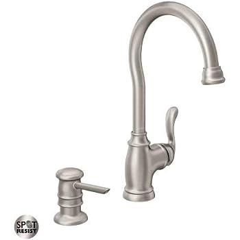 Moen 87682srs High Arc Kitchen Faucet With Soap Dispenser