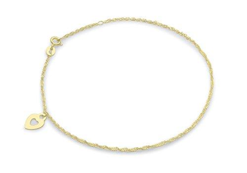 """Jewellery World Bague en or jaune 9carats et cœur de cheville Chaîne gourmette 23cm/9"""""""