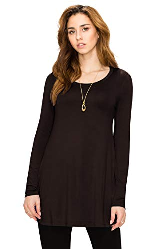 WT767 Womens Long Sleeve Scoop Neck Trapeze Tunic L BROWN