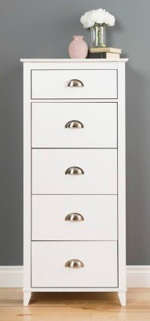By Home Design Tall Chest, 5 Drawer Organizer   White