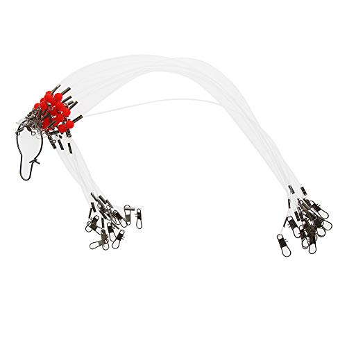 (Croch 12pcs/lot Fishing Leaders Nylon Line Fishing Wire Rigs Leaders with Swivels Snaps Beads(13.8IN))