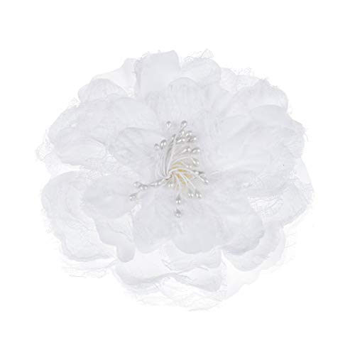 (Daisyu Peony Flower Hair Accessories Party Evening Headpiece Flamenco Dancer Pin up Flower Brooch (White))