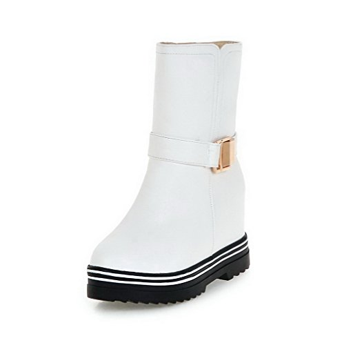 AgooLar Damen Niedrig-Spitze Rein Ziehen auf Rund Zehe Hoher Absatz Stiefel Weiß