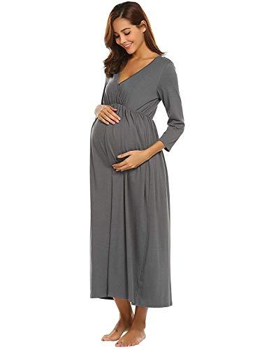 La V Con Lactancia Mujeres Fijas Camisones Las Camisón Embarazadas Vestido Camisa Dormir Funcionando Cuello Damas 4 De En Manga Largo Vintage Siguen Maternidad Grau Y Para 3 pvnx7Bqg