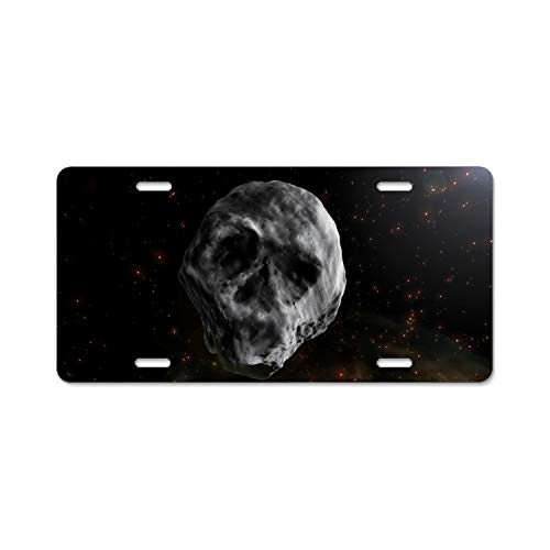 (Khope Skull-Shaped Asteroid Aluminum Car License Plate Frame,6 L X 12 W)