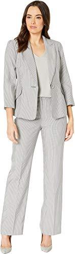 Le Suit Women's Pinstripe 1 BTN Notch Collar Pant Suit, Black/White, 14