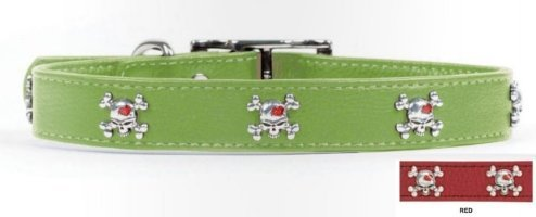 Rockin Doggie Skull Rivets Leather Dog Collar, 1/2 by 8-Inch, Red
