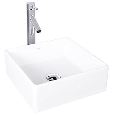 VIGO Bavaro Matte Stone Vessel Bathroom Sink and Dior Vessel Faucet with Pop Up, Chrome