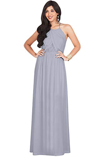 (KOH KOH Womens Long Bridesmaid Sleeveless Cocktail Evening Prom Formal Special Occasion Floor-Length Beach Wedding Party Guest A-Line Flowy Gowns Maxi Dresses, Gray/Grey L)