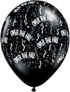 OVER The Hill BLACK Print 30 40 50 60 70 80 (6) Happy Birthday Latex Balloons