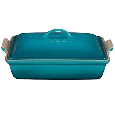 Le Creuset Heritage Stoneware 12-by-9-Inch Covered Rectangular Dish, Caribbean