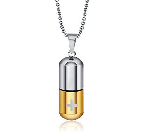(LaFatina Pill Case Holder Pendant Necklace, Mens Stainless Steel Pill Cross Capsule Tube Necklace Pendant)
