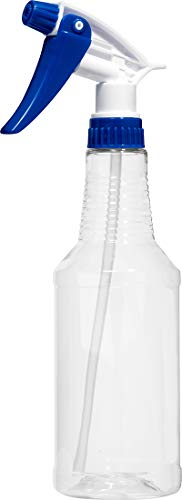 Empty Plastic Spray Bottle 16 Ounce, Clear, Chemical Resistant with Blue-White Sprayer for Chemical and Cleaning Solution, Adjustable Head Sprayer from Fine to Stream
