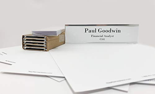 Wall or Door Nameplate Holder with Clear Plastic Inserts and Perforated Nameplate Inserts - Pack of 10 (Silver, 8