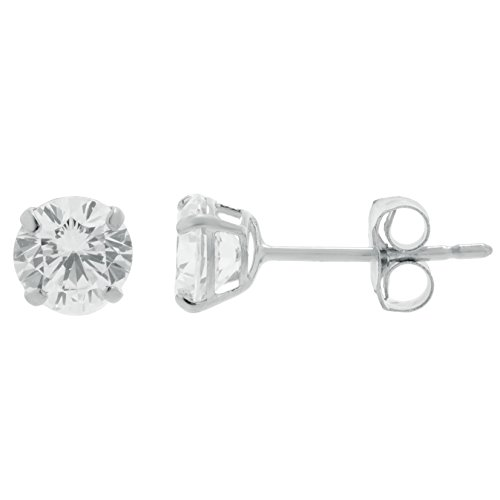 14k White Gold 4MM Round Cubic Zirconium Stud Earrings