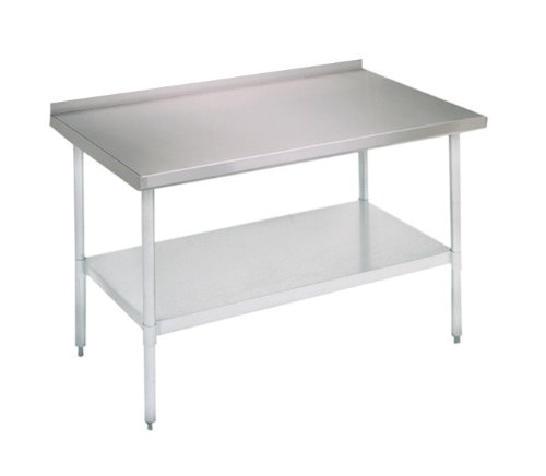 John Boos E Series Stainless Steel 430 Budget Work Table, Adjustable Undershelf, 1.5'' Turn Up Rear Riser Top, Galvanized Legs, 60'' Length x 30'' Width by John Boos