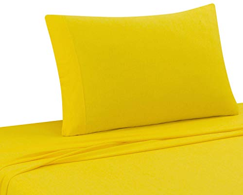 DELANNA Jersey Knit Sheet Set Soft, Breathable, Cotton Rich T-Shirt Weave (Yellow, Twin)
