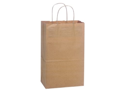 Brown Kraft Shopping Bags - Debbie Natural Kraft Shopping Bags Bulk 8-3/4x6x14'' (250 bags) - WRAPS-DEBKR by Miller Supply Inc