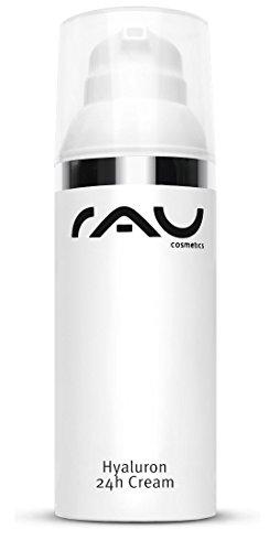 Gesichtscreme mit Anti-Aging Effekt - RAU Hyaluron 24h Cream 50 ml - für trockene Haut mit Hyaluronsäure, Sheabutter & Avocadoöl