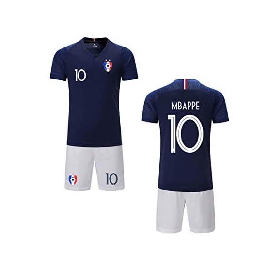 ZIGJOY Maillots de Football Enfants de France Soccer Jersey 2018 Coupe du Monde France 2 Étoiles Football T-Shirt et Short